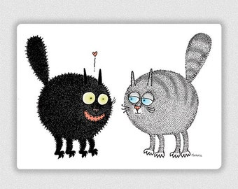 The Black Hairball In Love postcard