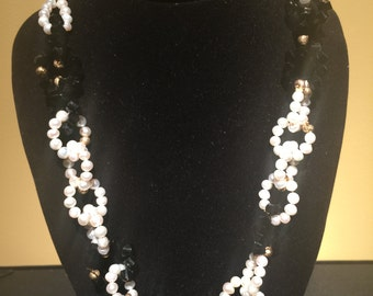 Classic with modern twist, black and white genuine freshwater pearls