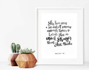Succulent // A4 Calligraphy Poetry Line Print