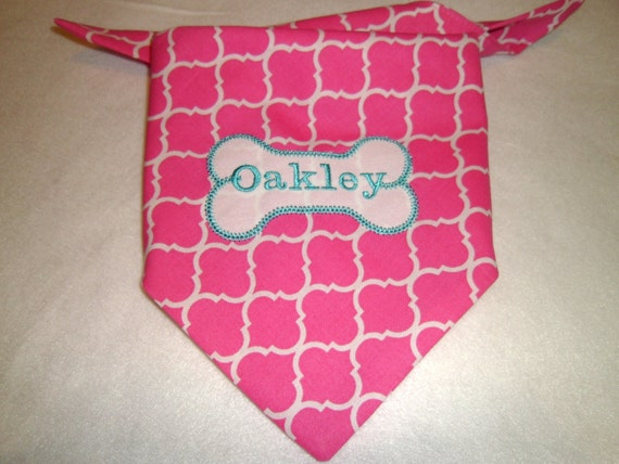 Pink Quartrefoil,  Dog Bandana, Tie On, Dog Bone, Collar, Custom Dog Collar, Monogram, Embroidery