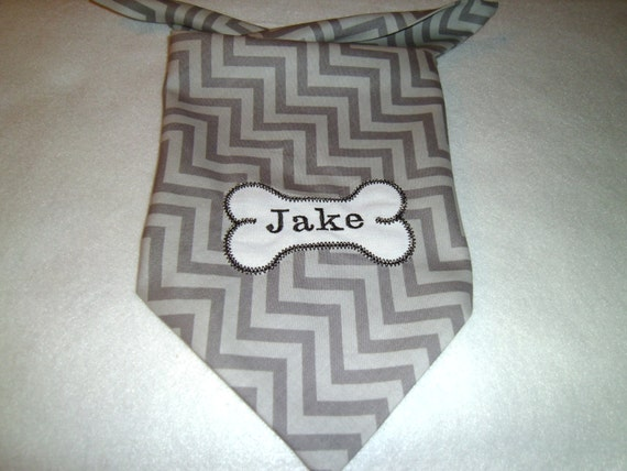 Dog Bandana, Personalized, Gray with Bone, Monogram, Tie On, Dog Bone Collar, Dog Collar, Embroidery