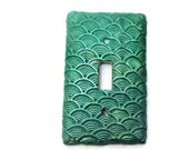 Green Sea Shell Textured Switch Plate - Polymer Clay covered switch plate cover - Mermaid Fin Light Switch