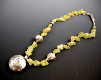 """Natural Green Garnet and Double Sided Precious Metal Clay FIne Silver Pendant 18"""" Beaded Necklace KHN1511"""