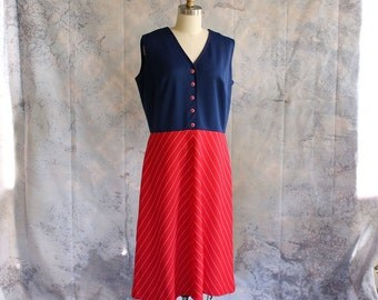 early 70s colorblock dress with chevron stripe skirt . sleeveless red and blue dress . vintage 1960s / 1970s dress . large