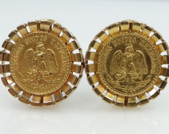 14k Gold Lever Back Earrings with 1945 21.6k Gold Coins