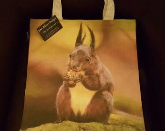 Red Squirrel tote bag - squirrel design tote bag, squirrel leisure bag, squirrel shopping bag