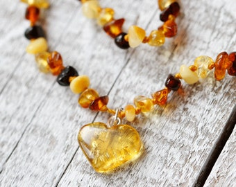 Boho baby, Boho baby shower, Heart Baltic Amber necklace, Bohemian baby, Bohemian baby shower, New Baby Gift for Baby Shower Gifts Idea