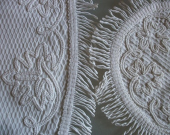 3 pcs French C1910 Doily Set Silk and Linen Embroidered Dressing Table Set