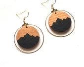 Mountain Peaks and Copper Sky Hoop Earrings- Hand painted