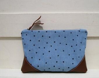 Denim Clutch, hand painted black dots, medium, pocket, leather corners, zipper pouch, wedding favours, blue denim medium