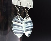 Clear White streaks fused stained glass earrings