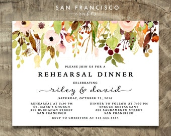 Rehearsal Dinner Invitation | Engagement Party Invite, 40th Birthday, Bridal Shower |  Printable Invitation | Floral | Riley  Collection - P