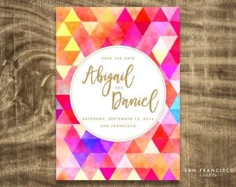 Watercolor SAVE THE DATE Card, Printable Invitation, Modern, Geometric - Gold Script - Digital File
