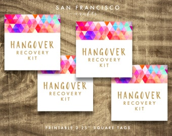 Hangover Recovery Kit Tags, Hangover Survival Kit Tag, Bachelorette Weekend Tags - Instant Download PDF File