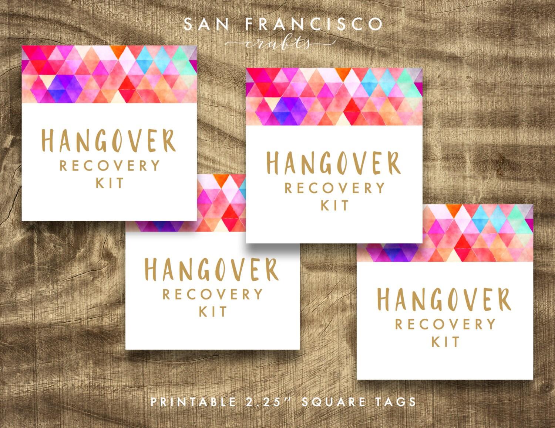 Hangover Recovery Kit Tags, Hangover Survival Kit Tag ...
