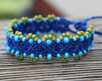 REDUCED Micro-Macrame Beaded Bracelet - Dark Blue with Lemon Grass and Turquoise