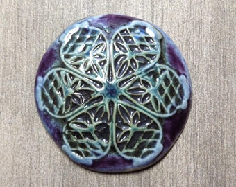 Large Filigree Ceramic Cabochon in Amethyst Iron