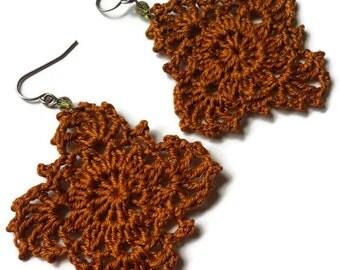 Gypsy Lace Crochet Earrings Handmade Lace in Fall Ginger Brown//Boho Chic Crocheted Dangle Earrings Gift for Her