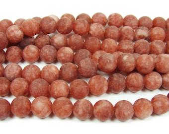 Rusty Red Jade Matte Round Gemstone Beads