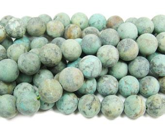 African Turquoise Jasper Matte Round Gemstone Beads