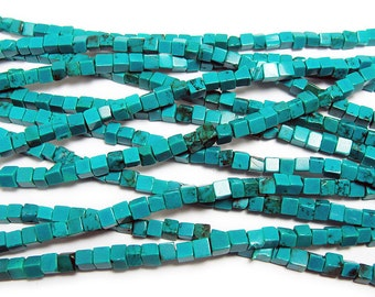 Chinese Turquoise Cube Gemstone Beads