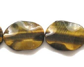 Tiger Eye Wavy Oval Gemstone Beads