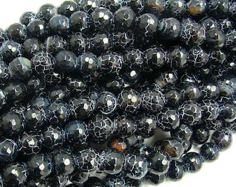 Black Matrix Agate Faceted Gemstone Beads