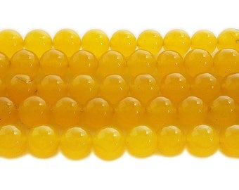 Honey Yellow Jade Round Gemstone Beads
