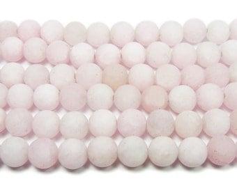 Light Pink Matte Jade Round Gemstone Beads