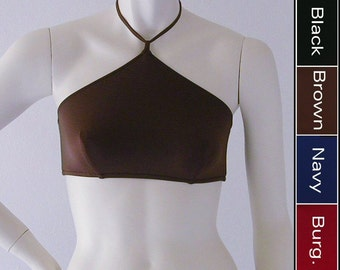 High Neck Halter Bikini Top in Black, Navy Blue, Brown, Burgundy in S M L XL