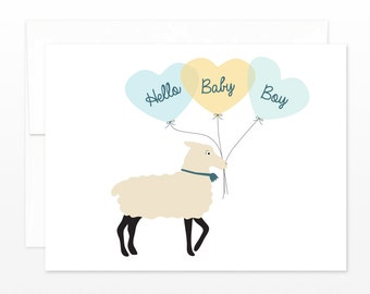 Baby Boy Card, New Baby Greeting Card, Cute Lamb Balloon Card, Baby Shower Card, New Parents Card, Boy Baby Card, Birth Announcement, Blue