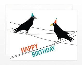 Happy Birthday Card - Crows in Party Hats