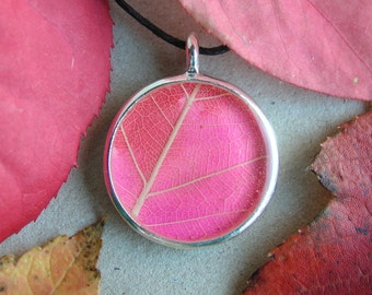 Magenta Pink Leaf necklace, nature jewelry, pink red leaves