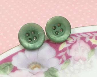Seafoam Stud Earrings, Green Button Studs, Gift for Crafty Friend, Vintage Button Stud Earrings in Seafoam Green