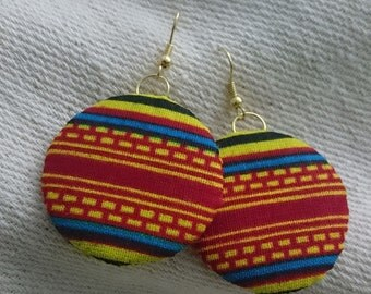 Kente print fabric earrings