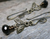 Queen Bee earrings ... antique brass bees / wire wrapped black spinel / hand forged earwires