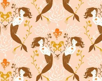 Mendocino Blush Mermaids Heather Ross cotton quilt fabric - fat quarter, mendocino fabric, heather ross fabric