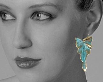 Handmade Verdigris Patina Earrings Leaf Earrings Boho Earrings Rustic Earrings