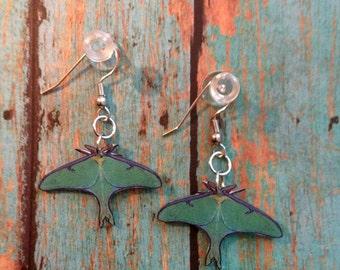 Handcrafted Plastic Luna Moth Earrings