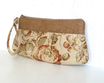 Pleated Wristlet, Small Clutch Purse, Zipper Wristlet Clutch - Harvest Blossoms in Tan, Beige and Spice