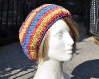 Crocheted Slouchy Beret - Crocheted Wool Hat - Women's Hat - Rainbow Striped Hat - Winter Accessories