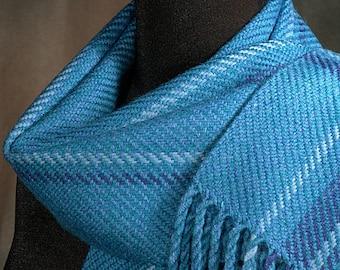 Handwoven merino wool winter scarf / blue scarf