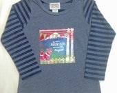 """Girls Navy Long Sleeved Shirt with """"Mountains are ..."""