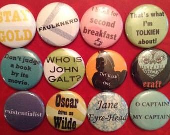 Bookish Magnet Set / Literary Magnets / Book Lover Gift / Book Magnets/ Reader Gift / Book Club Gift / Stocking Stuffer / Teacher Gift