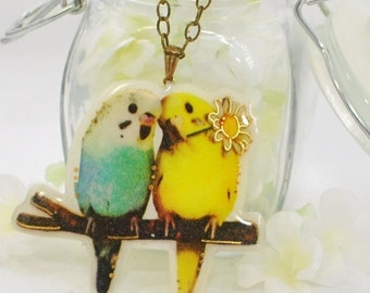 Parakeet Necklace Tweeting Love Notes  - Budgie Pendant - Bird Jewelry - Yellow Parakeet Jewellery - Blue Budgie Necklace