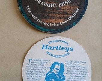 Vintage Hartleys Draught Beer Cardboard Coaster,  Brew Collector Mats, UK drink mats