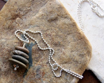 Beach Stone Cairn Necklace - stacked stone necklace - Cairn Jewelry - Beach Pebble Necklace  - Zen - Spiritual - bohemian jewelry