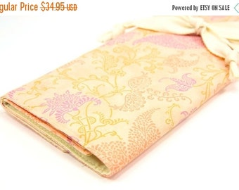 Sale 25% OFF Large Knitting Needle Case Organizer - Peachy Keen - 30 ivory pockets for circular, straight, dpn, or paint brushes