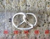 Custom order Large sculpted fine silver pretzel pendant
