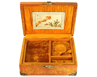 Antique Victorian Tangerine Orange Velvet Covered Jewelry Box With Silver Metal Oak Leaf and Acorn Details Satin Lined Circa 1900